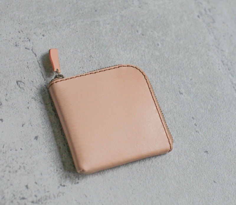 Nude color vegetable cow hide leather coin wallet