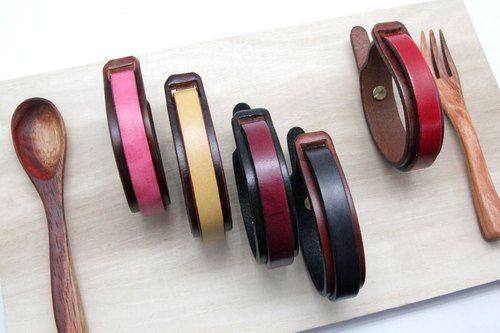 Hand-dyed double-face leather bracelet (Wide)