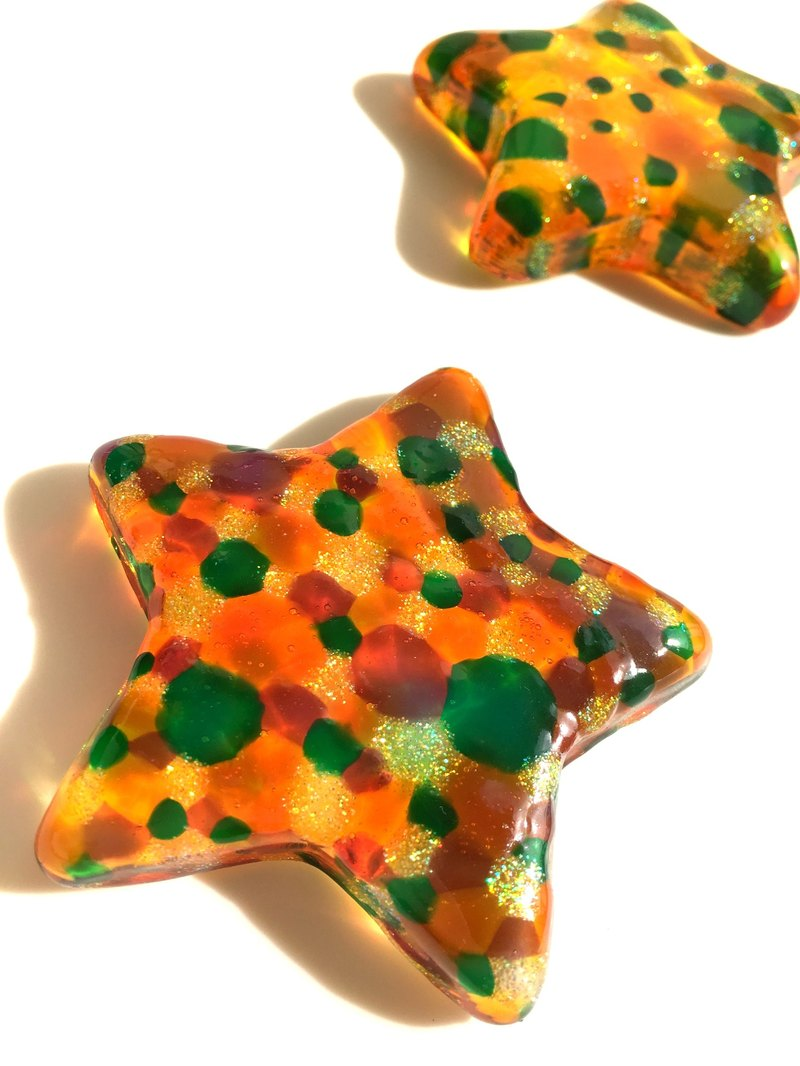 3D Orange Star Glass Art Sculpture・Stained Glass Paper Weight