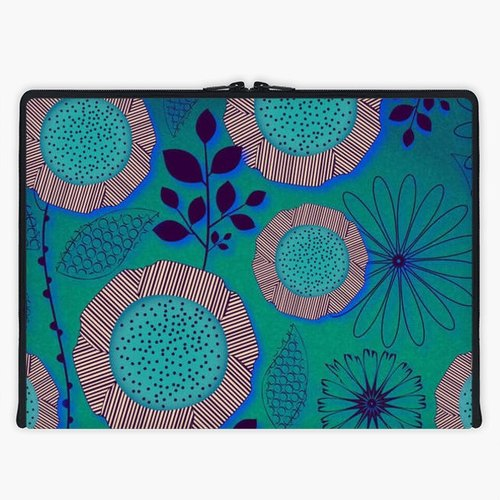 Axis - Custom 3-Sided Zipper Laptop Sleeve - Turquoise Garden