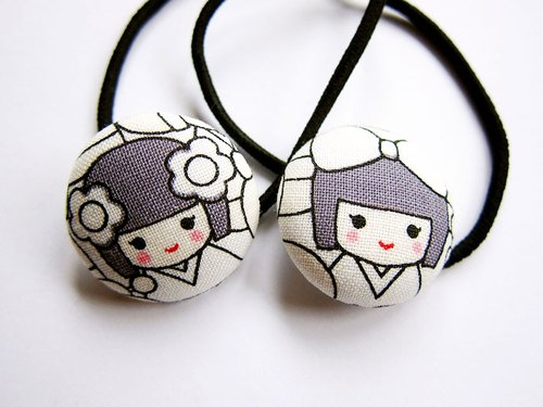 Hand-made cloth button hair headband ring Japanese doll kokeshi