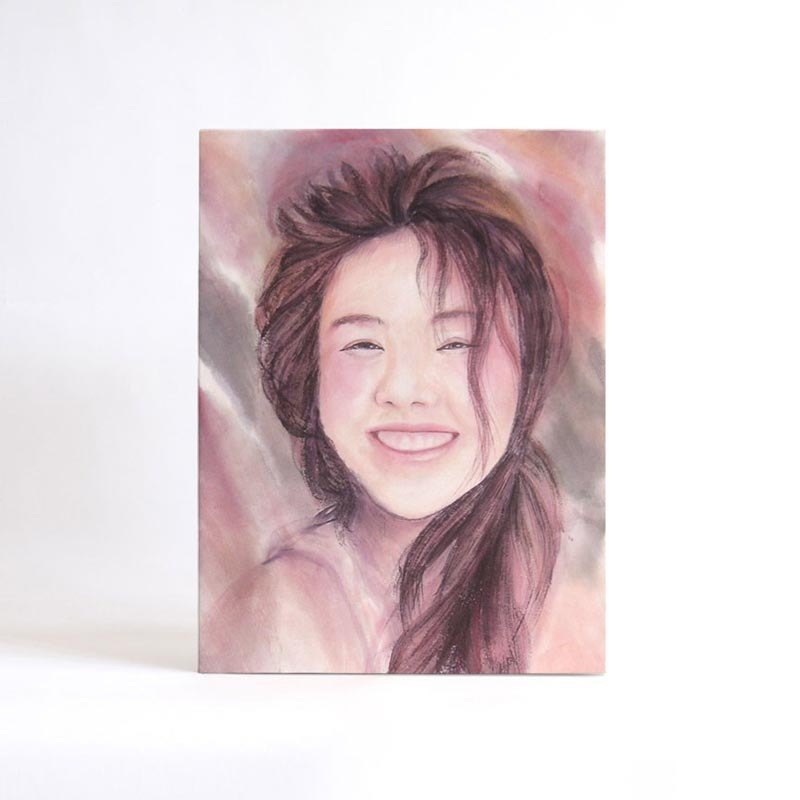 Customized hand-painted color ink portrait without box 30x40cm