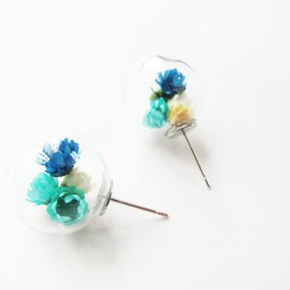 * Rosy Garden * Dried Daisies inside glass ball earrings