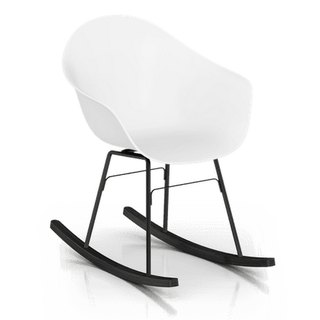 TOOU ArmShell rocking chair with black oak legs (white)