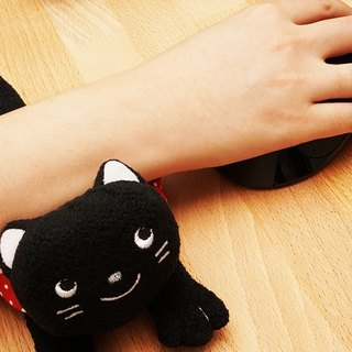Kitty multifunction Gauntlets Gauntlets pad screen wipe phone towels pillow pillow pillow wrist mouse pad (black)