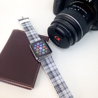 Apple Watch Series1, Series2 & Series 3 Tartan Black Pattern Printed on Genuine Leather for Apple Watch Strap Band 38 / 42 mm - 59