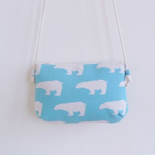 Manual sewing blue polar bear carry small oblique shoulder cloth bag