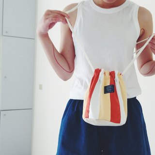 :::Bangstree:: Shoulder Bucket Bag -Orange+White+LightYellow