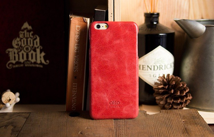 Alto iPhone 6 Plus / 6S Plus Leather Case Rear Cover, Original - Coral [Can Add Carrier Leopard] Leather Case Leather Case
