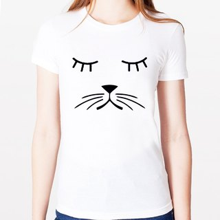 Whiskers Cat Girls T-shirt -2 color green paper beard cats dogs animal art design fashion fashionable word