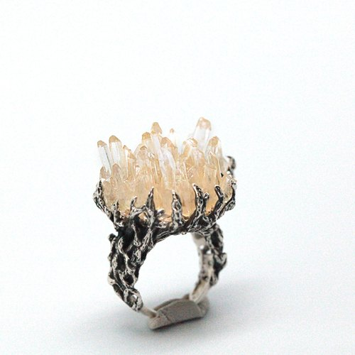 The original elegance - branches - Whitewater druse silver ring