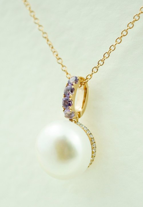 VICTORIA - 14mm Round Freshwater Pearl with Amethys 18K Rose Gold Plated Silver Necklace