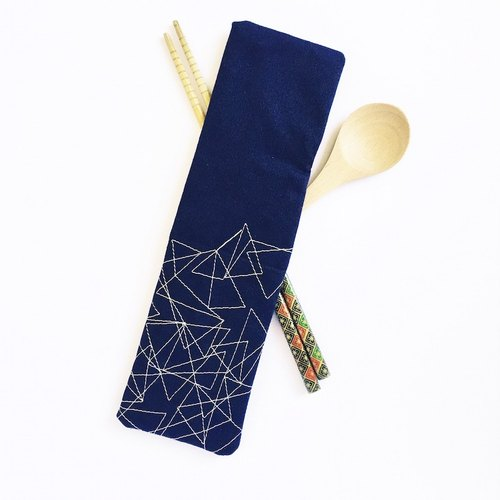 Geometric embroidery chopstick holder, Navy blue chopstick case, cutlery holder, fork and spoon holder