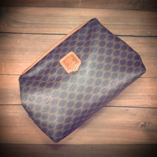 [Bones] early CELINE Leather x waterproof makeup bag hand print logo canvas bag genuine antique Vintage