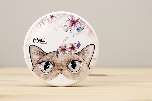 Good meow round sided mirror - Flower cat