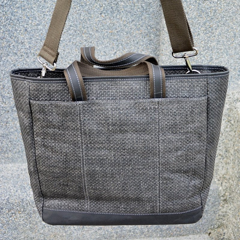 Black 漾 fashion dual-use tote bag Tote Bag│ natural water repellent │ paper fiber