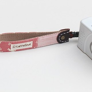 Japanese cherry rabbit silhouette (peach) 25mm manual camera strap / wrist band with a small camera / film machine