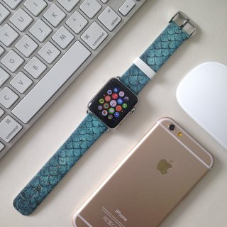 Apple Watch  Series 1, Series 2 and Series 3  - Turquoise Scales Pattern Style Printed on Genuine Leather for Apple Watch Strap Band 38 / 42 mm - 41