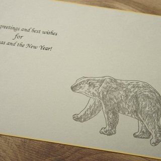 Letterpress time card remaining / yellow polar bear