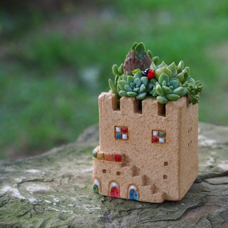 [Garden] Castle Garden Tao hand-made - super cute little castle garden (S) / rock yellow / Ceramic Castle / custom orders