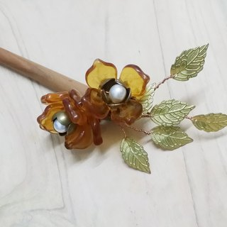Kee Ling Tong set ornaments hanging ~ {days, Ying Wan (Hanging glass flower)} mahogany glazed pearl flower hairpin bone Bob hair plug hairpin