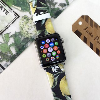 Apple Watch Series 1, Series 2 and Series 3 - Lemon Tree Black Printed on Genuine Leather for Apple Watch Strap Band 38 / 42 mm - 75