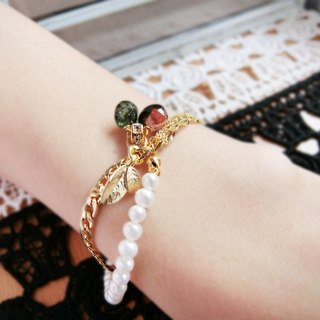 【Coin】 pearl tourmaline bracelet