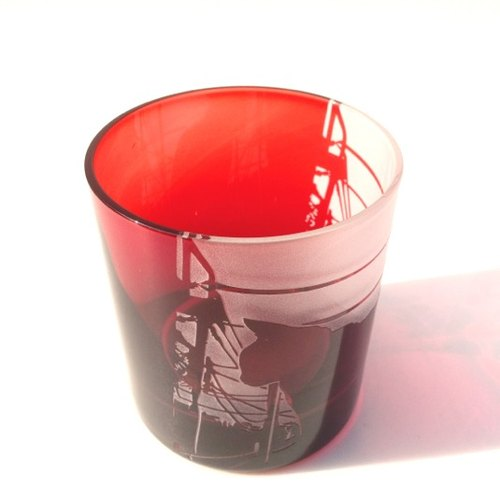 Sunset cat / rock glass [red]