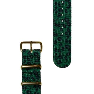 HYPERGRAND Military Band - 20mm - JADE LEOPARD Emerald Green Leopard (Gold buckle)