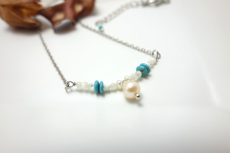 Turquoise pearl necklace ◎ thin stainless steel chain