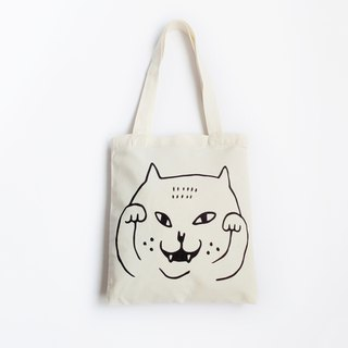 Big Cat Tote Bag / Recycle Bag / Waving Cat / Beige + Black