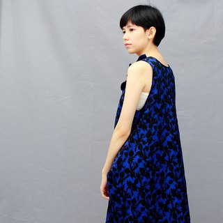Blue / cotton dress with pockets /tank skirt dress
