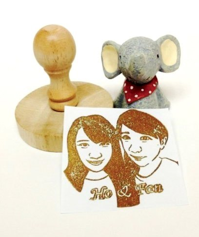 [Custom] 6cm large round wooden handle Exclusive custom stamp by anSTaMP