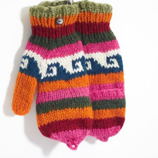 Limited a knitted pure wool warm gloves / 2ways Gloves / Toe gloves / bristles gloves / knitted gloves - Orange playful color