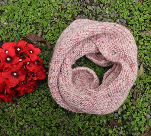 Hand made - strawberry yogurt - wool around the neck