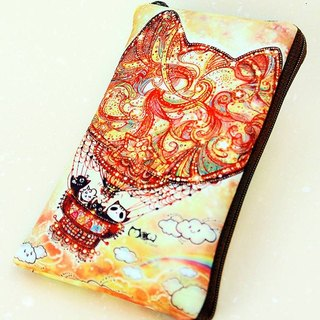 Illustration style cell phone pocket - [cat hot-air balloon] 5-inch phone applicable