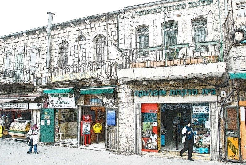 耶路薩冷街景---無框畫