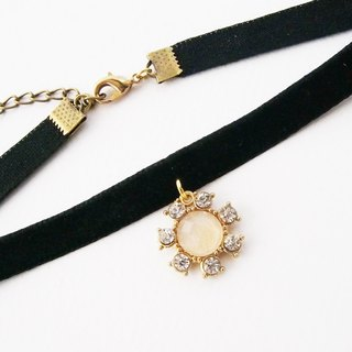 Black velvet choker / necklace with diamond charm.