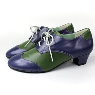 Blue and green mosaic Oxford shoes
