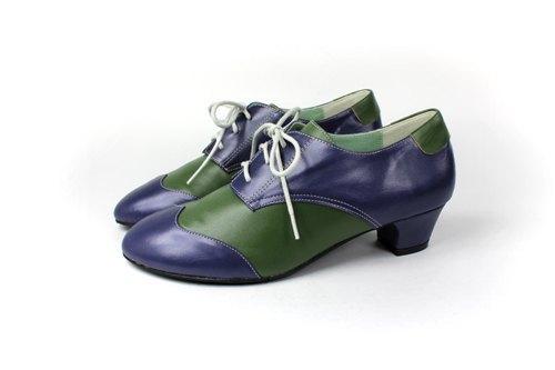 藍綠 拼接牛津鞋