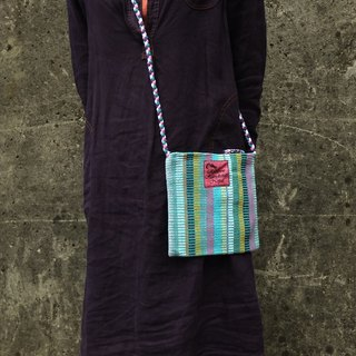 【Grooving the beats】Handmade Hand Woven Side Bag / Cross Body Bag(Blue)