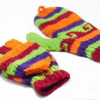 Limited a knitted pure wool warm gloves / 2ways Gloves / Toe gloves / bristles gloves / knitted gloves - playful fluorescent green color