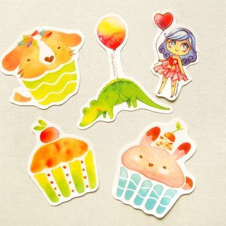 Illustrated Stickers (5 Pieces) - Watercolor Stickers - Glossy Stickers