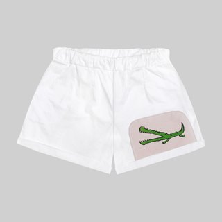 [Limited] a small crocodile difficulties / white patchwork high waist slacks