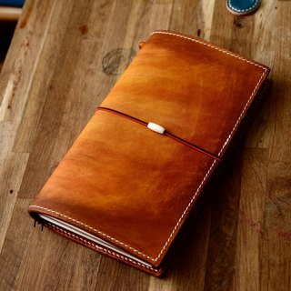Cans hand-made hand-dyed yellow brown vegetable-tanned cowhide leather travel notebook TN notepad notebook PDA standard models