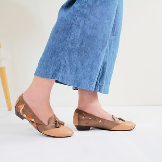 [Triangle Dance] Embroidered handmade low-heeled Oxford shoes (caramel brown)