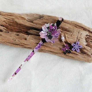 Sakura-soft, double cherry swaying, hairpin, hair piece - purple