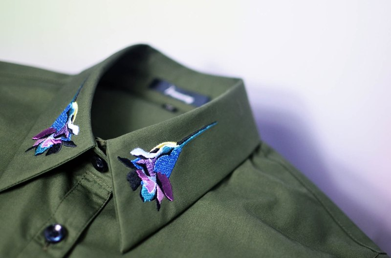 humming-Embroidered Shirts humming bird embroidery collar / Military green
