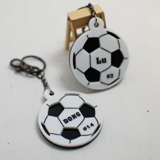 Football keychain customized / engraved name [school name] + back number / Day / graduation gift