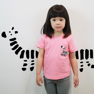 Children's Cotton Handmade T-Shirt - Childlike Zebra on Rainbow (Pink Orange)